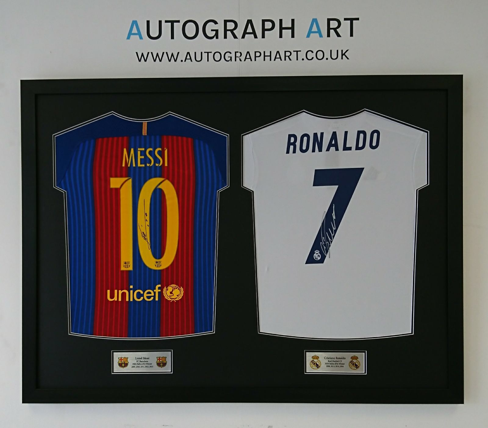 on sale c6f19 71c89 Lionel Messi and Cristiano Ronaldo Double Framed Signed ...