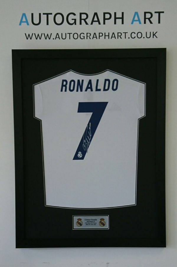 size 40 9cff5 245d6 Cristiano Ronaldo Signed Framed Real Madrid Shirt ...