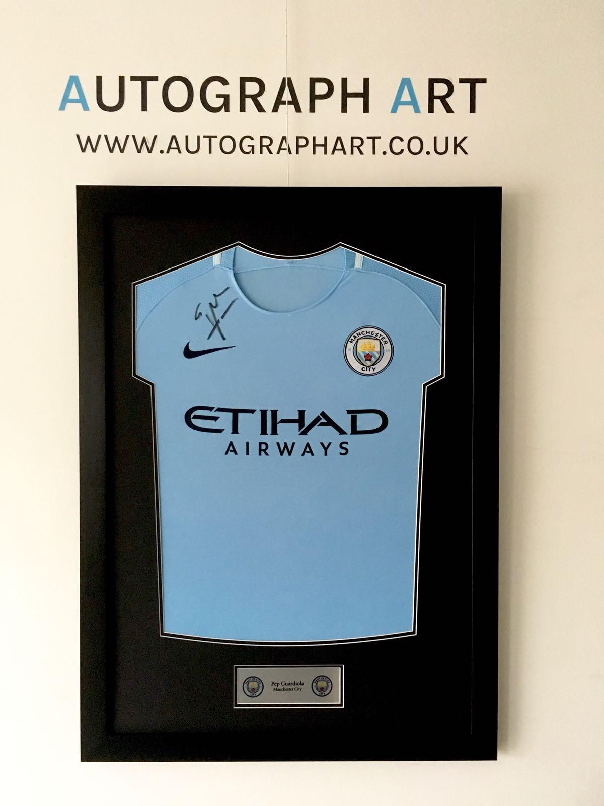 How To Frame A Shirt >> Pep Guardiola Signed Framed Manchester City 2017/18 Home Shirt - Autographed Memorabilia
