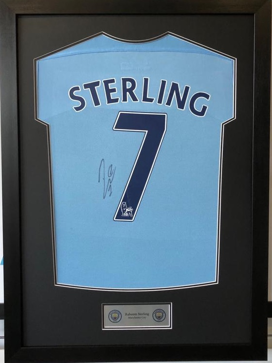 on sale 8c9fb c9ab2 Raheem Sterling Signed Framed Manchester City 2017/18 Home ...